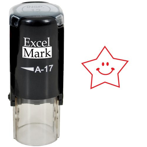 Round Teacher Stamp - HAPPY STAR - RED INK