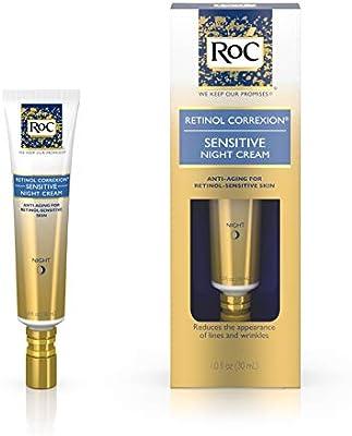 RoC Retinol Correxion Anti-Aging Sensitive Skin Wrinkle Night Cream, Made with Milder Strength Retinol and Hyaluronic Acid, 1 fl. oz