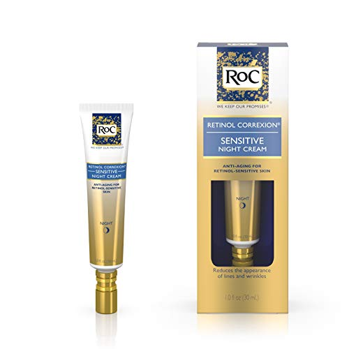RoC Retinol Correxion Anti-Aging Sensitive Skin Wrinkle Night Cream, Made with Milder Strength Retinol and Hyaluronic Acid, 1 fl. ()