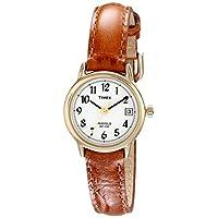 Reloj Timex T2J761 Indiglo con correa de piel para mujer, color marrón miel /dorado