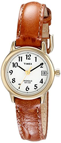 Timex Women's T2J761  Indiglo Leather Strap Watch, Honey Brown/Gold-Tone - Ladies Petite Quartz Watch