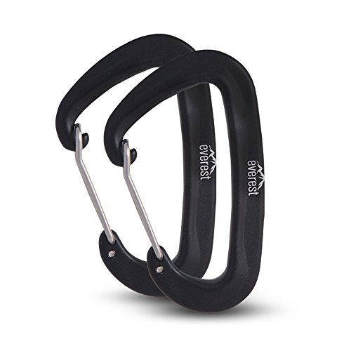 Hammock Carabiners – Everest | Lightweight 5kN Super Strong Lightweight Hammocks Wiregate Carabiner 1100 Lbs Tree Saver Straps Camping Backpacking Hiking Multiple Function.