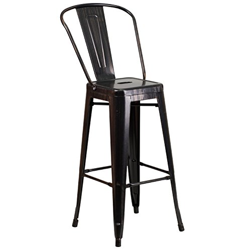 Flash Furniture 30'' High Black-Antique Gold Metal Indoor-Outdoor Barstool with Back (Sale And For Stools Bar)
