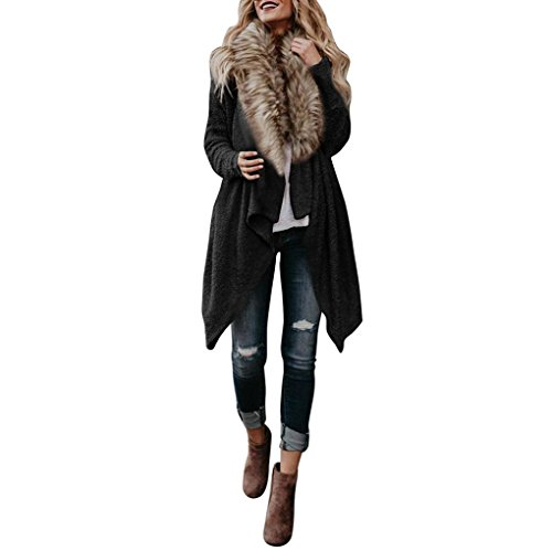 (Qisc Faux Fur Neck Coat, Spring Autumn Wool Outerwear Warm Outdoor Parka Overcoat Jacket Cape (Black, S))