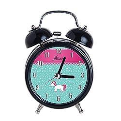 Children's Alarm Clock Vintage Retro Silent Pointer Clocks Round Number Dual Bell Loud Black Alarm Clock Bedside Night Light Home Decors Personalized Name Unicorn Turquoise Stars Wrist Watch