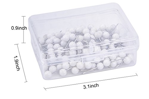 JoyFamily Map Tacks Push Pins ,1/5 Inch Round Head,3/5 Inch Total Length, Package of 200 Pcs (White) Photo #4