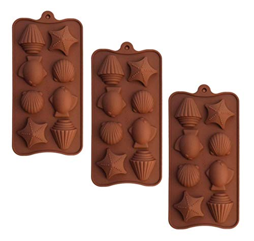 SET OF 3 X Sea Shells star fish Ice Cube Chocolate Soap Tray Mold Silicone Party maker (Ships From USA)
