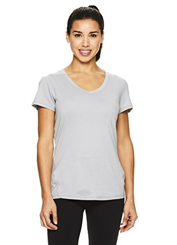 Head Ladies Tee - HEAD Women's V-Neck Short Sleeve Workout T Shirt - Performance Scoop Neck Activewear Top - Grey Heather Emily, X-Small
