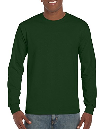 Antimicrobial Long Sleeve Jersey - Gildan Ultra Cotton 6 oz. Long-Sleeve T-Shirt, Large, FOREST GREEN
