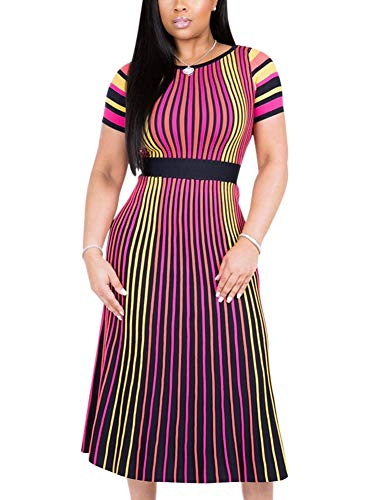 (Deloreva Women Summer Striped Dress - Elegant Short Sleeve Pleated Swing Evening Party Club Outfit Rose S)