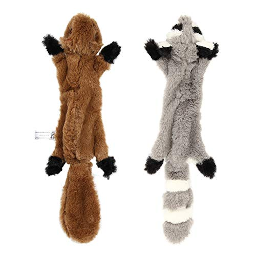 Nollary Dog Squeaky Toys No Stuffing, Soft Squirrel and Raccoon Plush Toys with Dual Squeaker for Dogs Avoid Boredom, 16…