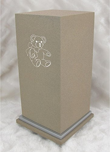 (PERSONALIZED Custom Engraved Teddy Bear Cremation Urn Vault by Amaranthine Urns, made in the USA, Eaton SE Painted Silver (up to 200 lbs living weight) (Celestial Blue))