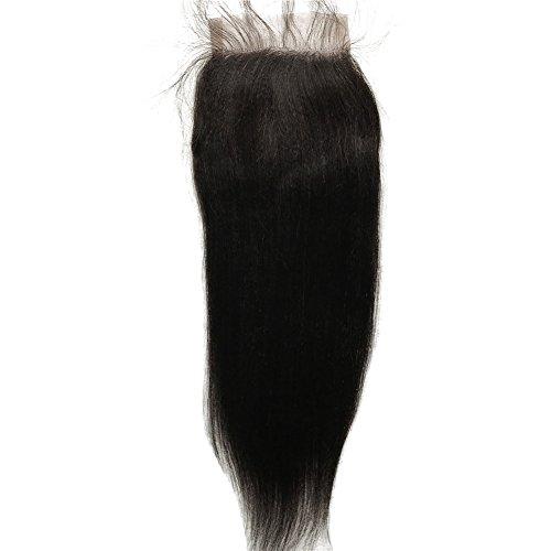 FDshine Lace Closure Coarse Light Yaki Straight Natural Black Virgin Human Hair 4x4