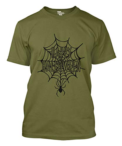 Happy Halloween Spider Web Men's T-Shirt (Olive, XX-Large) ()