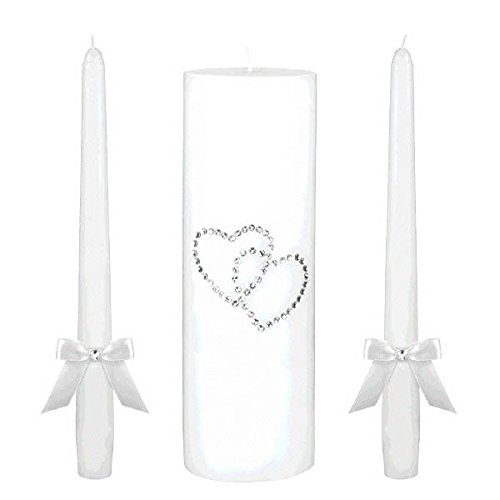 Classic Wedding Ceremony Accessories Unity Candle Set with Gem Hearts Party Supply , White, Wax, Pack of - Candle White Set Heart