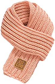 Unisex Kids Thick Knitted Warp Scarf Children Boys Girls Solid Color Winter Neck Warmer Shawl (Pink, one size
