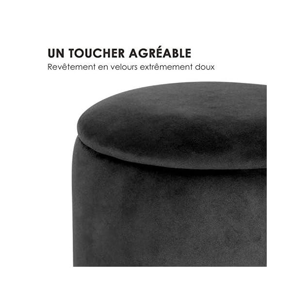 Besoa Gigi Tabouret rembourré : Pouf Rond/siège Ottoman, Dimensions : 38 x 31 cm (HxØ), revêtement : Velours, Base : Bande métallique, Compartiment pour couvertures à l'intérieur, Noir