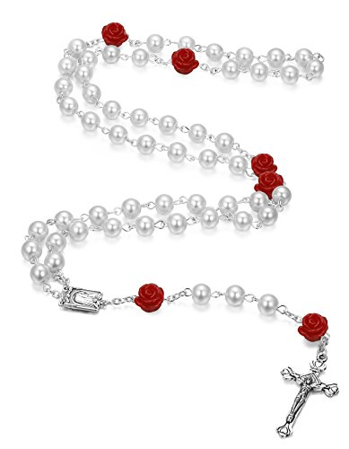 Imitation Pearl Jesus Christ Crucifix Cross Rosary Pendant Necklace, 28 Inch (Delicate Rosary Necklace)