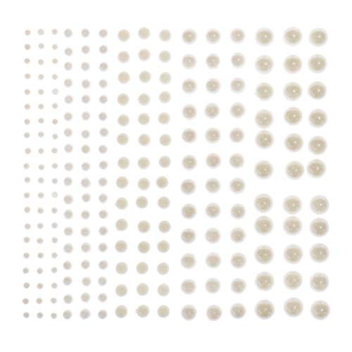 WSSROGY 1125Pcs Ivory Self Adhesive Pearl Gems Stickers Sheets Flat Back for Craft Assorted Size ()