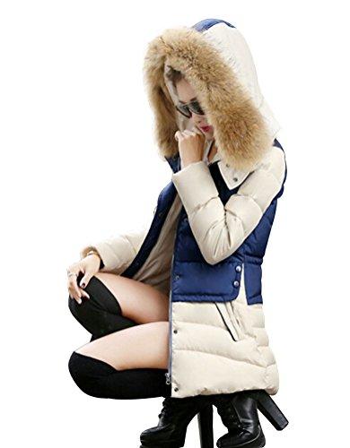 longue Fourrure Bleu MILEEO Parka Bicolore Hoodie Veste Capuche Hiver Blouson artificiel Femme Manteau zCq6A
