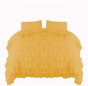 SCALABEDDING Scala ropa de cama Cascada Volantes funda de edredón y fundas de almohada 5piezas Juego 300TC algodón egipcio Reina dorado
