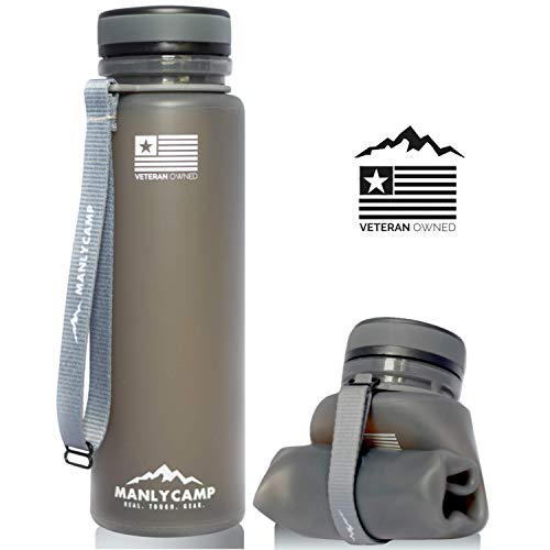 MANLYCAMP REAL. TOUGH. GEAR. Achelous Collapsible Water Bottle - 22 Oz - BPA Free Silicone - for Hiking, Camping, Gym & Travel
