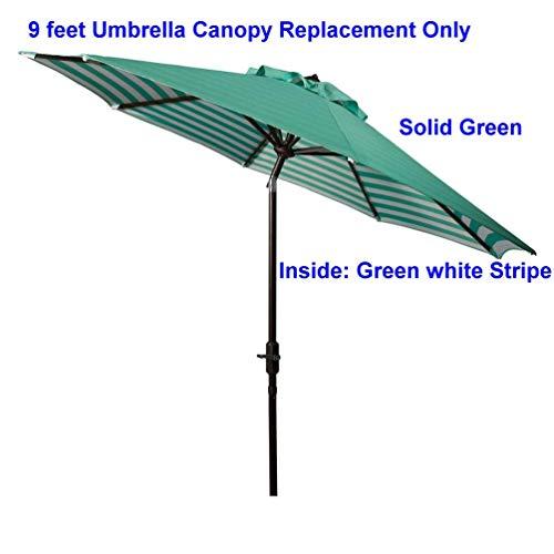 Bayside21 Replacement Umbrella Canopy for 8 Ribs 9 ft Outdoor Patio Umbrella Unique Print Design Replacement Umbrella Canopy 9ft Market Umbrella Replacement Canopy 8 Ribs Non Faded Green Stripe