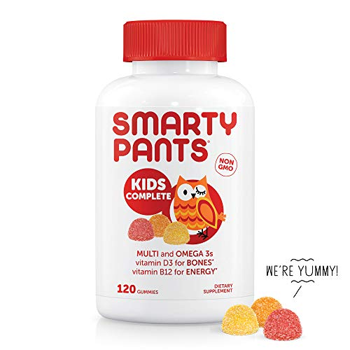 SmartyPants Kids Complete Daily Gummy Vitamins: Gluten Free, Multivitamin & Omega 3 Fish Oil (DHA/EPA Fatty Acids), Iodine Supplement, Methyl B12, Vitamin D3, Non-GMO, 120 count (30 Day Supply)