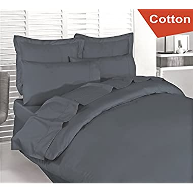 Cotton Queen Duvet-Cover-Set Grey - Premium Quality Combed Cotton Long Staple Fiber - Breathable, Cozy & Comfortable - Hotel Quality Exceptionally Durable - By Utopia Bedding (Queen, Grey)
