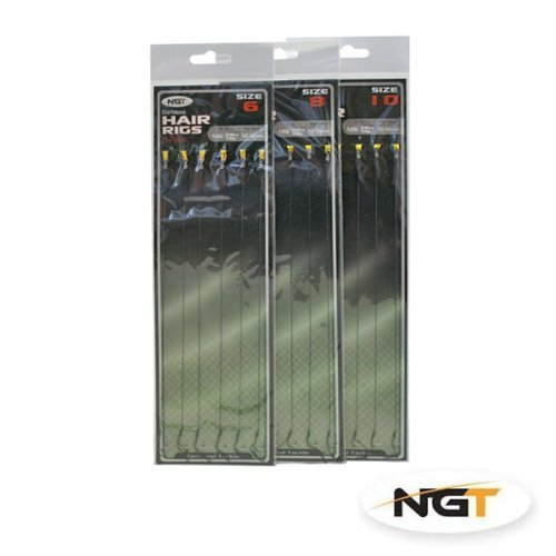 18 BRAID CARP FISHING HAIR RIGS SIZE 6, 8, 10 6 OF EACH SIZE FISHING TACKLE BARBLESS NGT