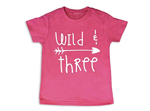 - Wild and Three Shirt Girl's Three Shirt 3rd Birthday Shirt (3 Toddler, Hot Pink)