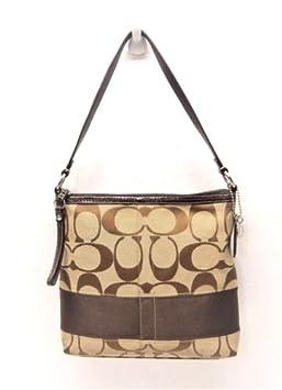 Coach F13674 Canvas Leather Brown Signature Shoulder Bag Handbag ... 112b21dfef68f