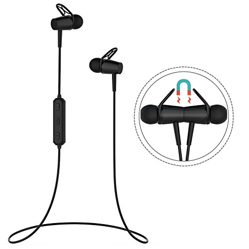 Bluetooth 4.2 Earphones, Magnetic Wireless Earbuds with Microphone, Sweatproof Waterproof in-Ear Headset for Running Workout