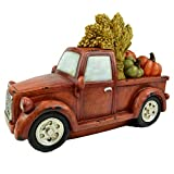 Clever Home Fall Harvest Burnt Orange Rustic Truck with Pumpkins and Hay in The Back 12.5 inches