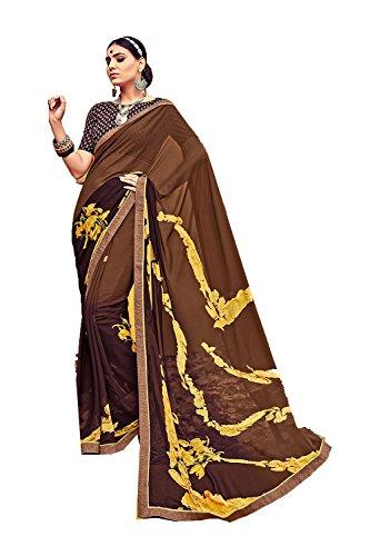 Da Facioun Indian Sarees For Women Wedding Designer Party Wear Traditional Sari. Da Facioun Saris Indiens Pour Les Femmes Portent Partie Concepteur De Mariage Sari Traditionnel. Brown 12 Brun 12