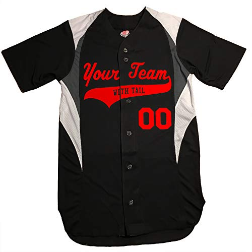 - 3 Color Customized Baseball Jersey Adult X-Large in Black and Scarlet