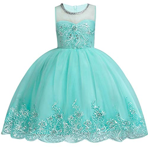 kids Showtime Girls Dresses Princess Party Prom Maxi Dresses (Tiffany Blue,130) -