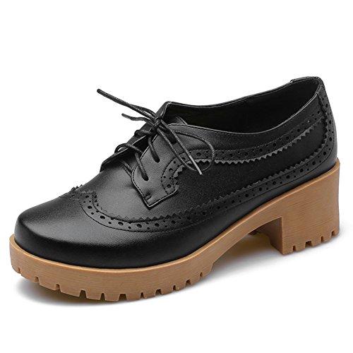 Primavera señoras zapatos de tacón grueso/Alta con tallado correa zapatos de las mujeres A