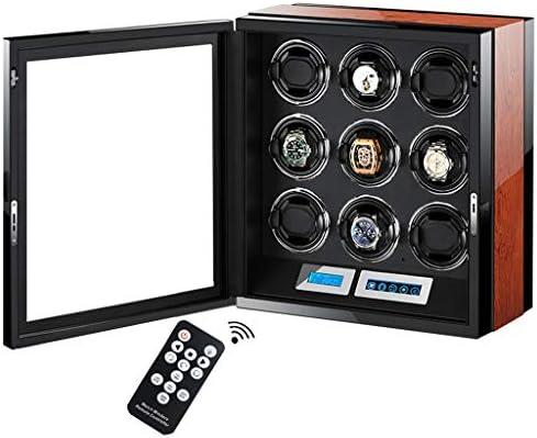 LSRRYD ワインディングマシーン 腕時計自動巻き器 9本巻き上げ LCDタッチディスプレイ超静音リモコン付き 高級木製ピアノ仕上げ