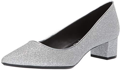 Calvin Klein Women's Genoveva Pump Silver Dusty Glitter 7.5 M - Block Wedge