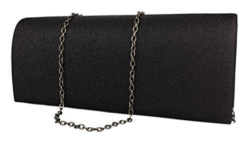 Bolso de mano para mujer en satén / Bolso de noche simple y elegante lentejuelas schwarz ZL357