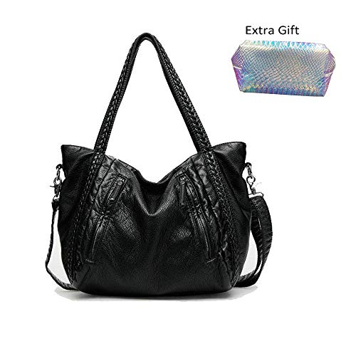 - Oversized Handbag,Easeu Women Big Capacity Top-handle Tote Bag Soft Slouchy Faux Leather Braided Shoulder Bag-Big Size
