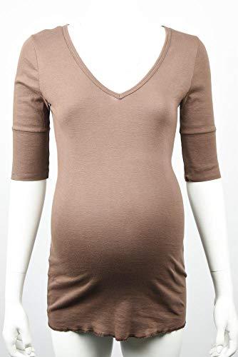 Michael Stars Maternity Bittersweet Brown OSFA deep vee Neck t-Shirt top