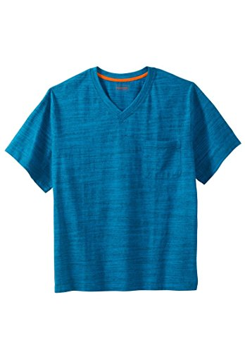 (Boulder Creek Men's Big & Tall Heavyweight Pocket V-Neck Tee, Classic Teal Marl)