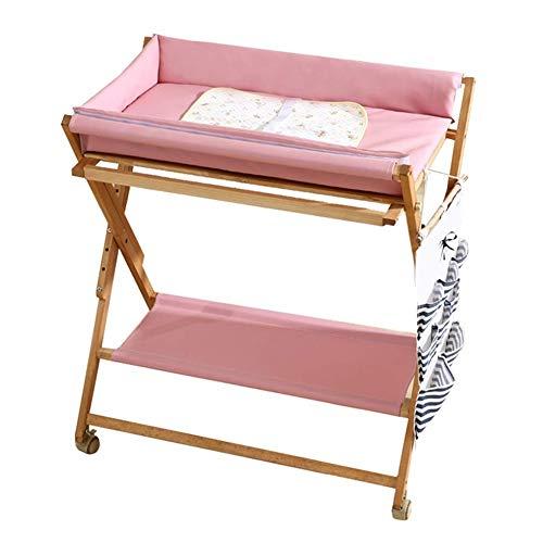 Mesa para cambiar pañales Cambiador de madera plegable para bebés con almacenamiento y tapete impermeable, tocador...