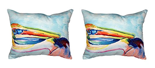 Pair of Betsy Drake Pelican Head No Cord Indoor/Outdoor Pillows 16 In. X 20 In. price