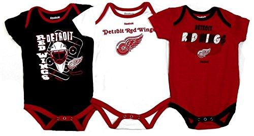 Detroit Red Wings Baby Hockey Puck & Goalie Mask Creeper Set (6-9 - Reebok Goalie Masks