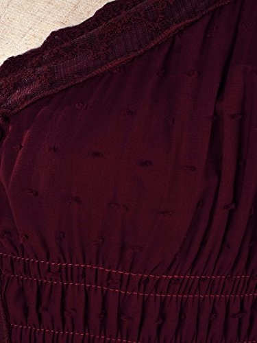 Anna Garniture Robe Style Kaci Dentelle Manche Grande Bourgogne Jeune inspir Chapeau Bohme Paysan Fille Blanc r7rwvPqE