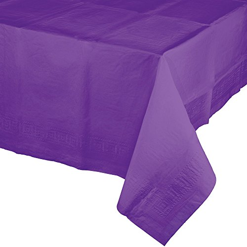 Creative Converting 318935 Touch Of Color 6 Count Paper Table Covers With Poly Backing Amethyst