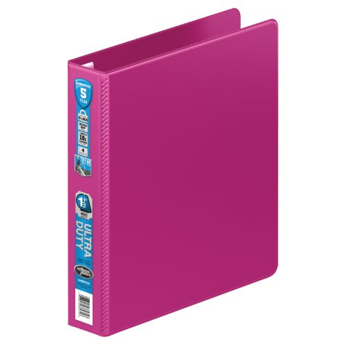 Wilson Jones Ultra Duty D-Ring Binder with Extra Durable Hinge, 1.5-Inch, Power Pink (W876-34-675)
